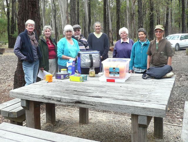Morning tea in the picnic ground - unfortunately some of the group had left
