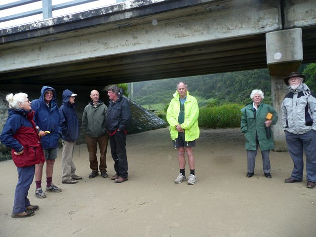 Morning tea at Kennett River - the bridge made a good shelter