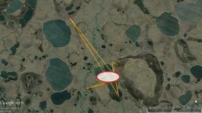 Charlie's likely nesting location (circled in red) in Northern Yakutia.