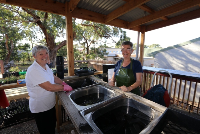 Sue and Christine at the washing station
